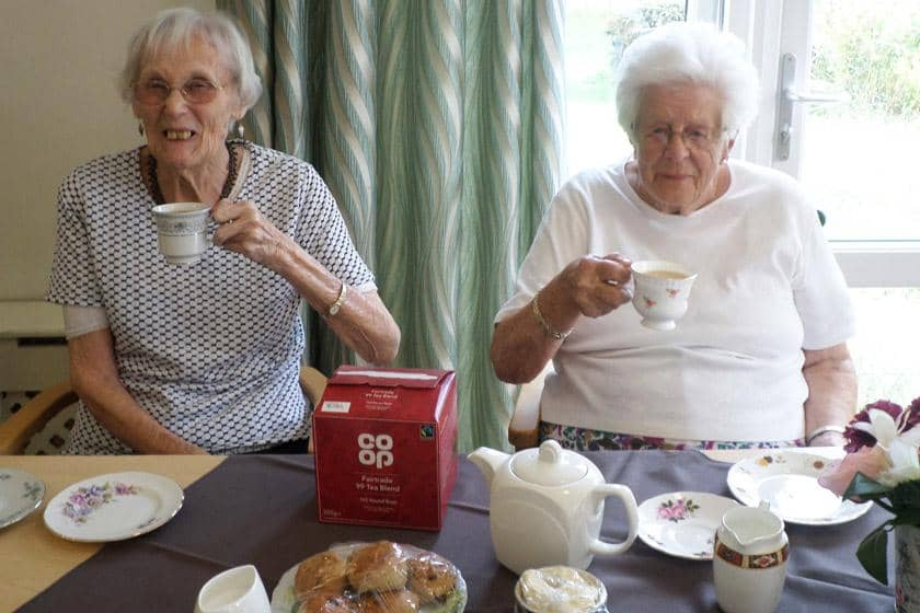 Residents celebrating afternoon tea week at Don Thomson House