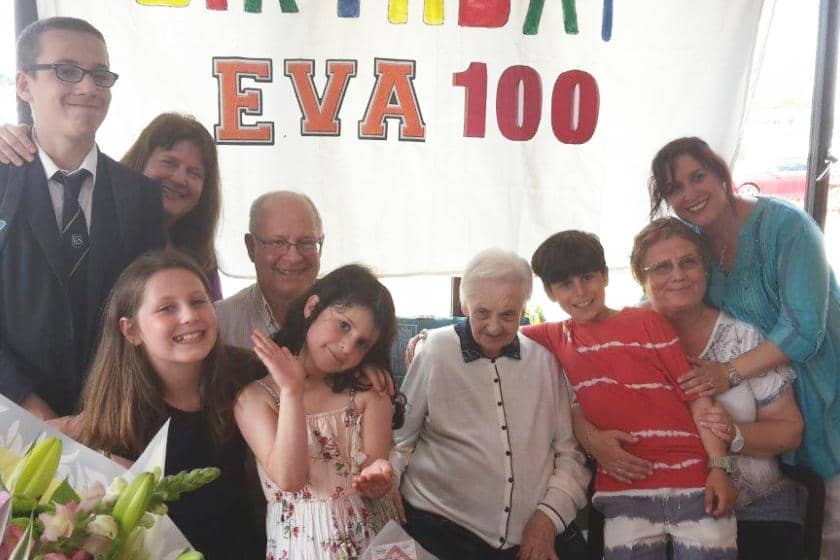 Sanctuary Care resident Eva celebrates her 100th birthday with her family.