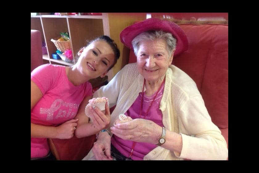 Staff and resident at a Sanctuary Care Home 'wear it pink' to support breast cancer research.