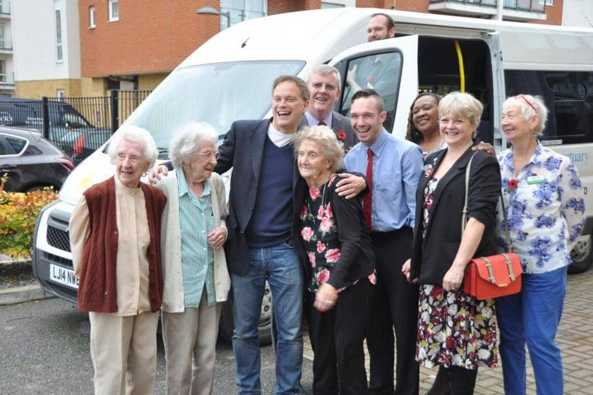 MP Grant Shapps with Sanctuary Care residents in Hatfield celebrating the arrival of a brand new minibus.