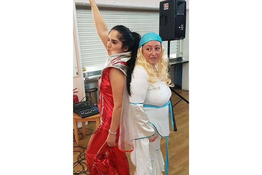 The staff from Pinewood Residential Care Home dressed up as Abba.