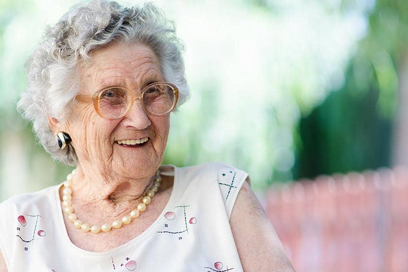 A smiling older lady