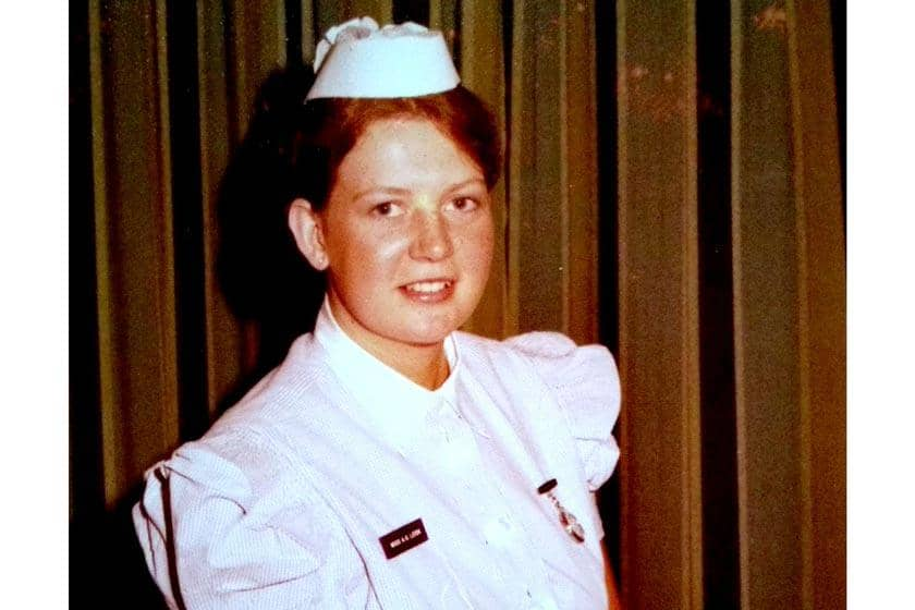 Alison Robertson in her nurse uniform when she was younger