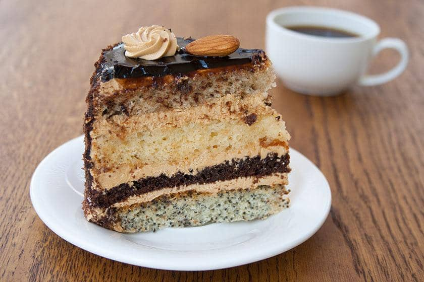 Piece of cake with a cup of coffee