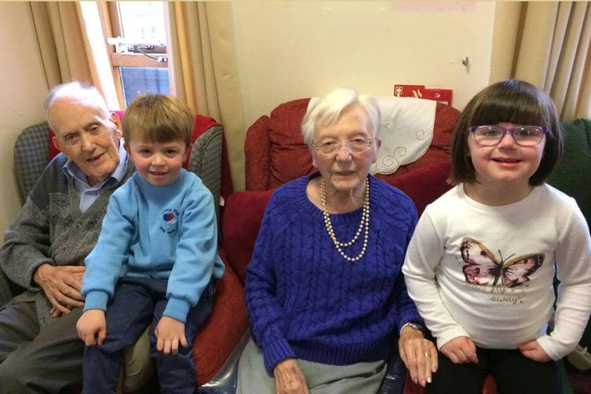 Residents from Shaftesbury House with local pre-school children