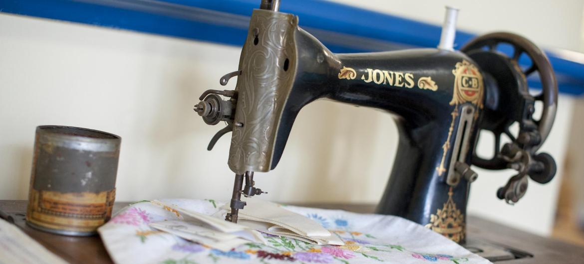 A traditional black and gold sewing machine in the activity station at Time Court Residential and Nursing Home.