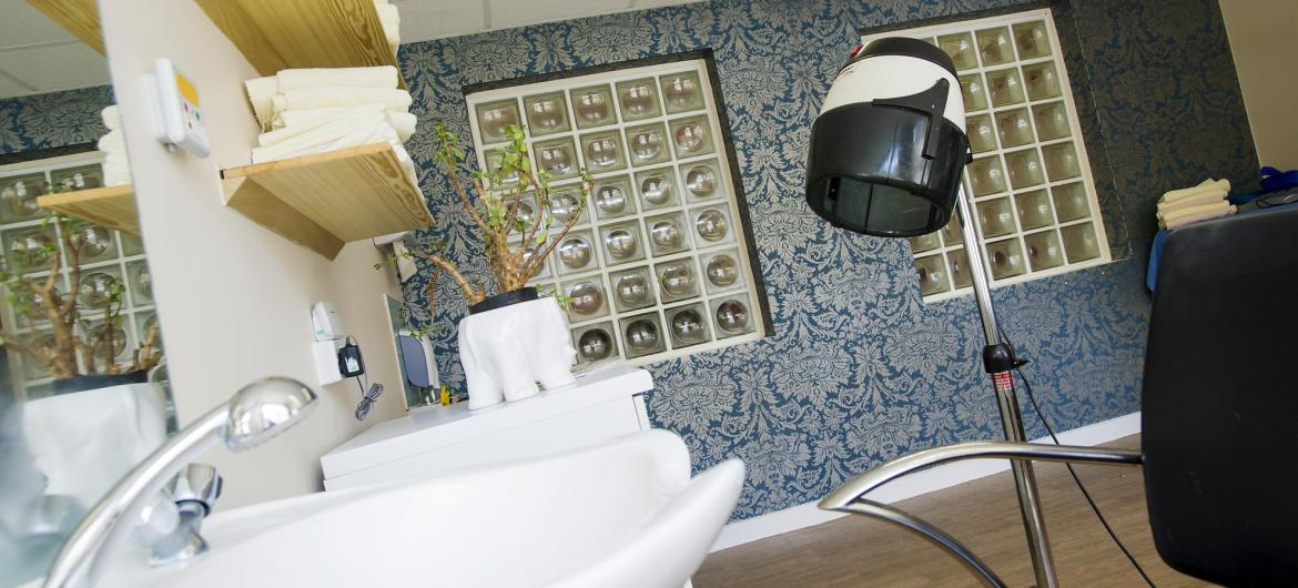 The modern hair dressing salon at Orchard House Residential Care Home.