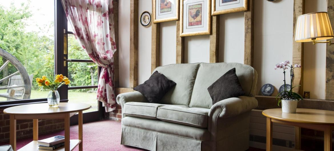 The barn lounge at Lyons Court Residential Care Home.