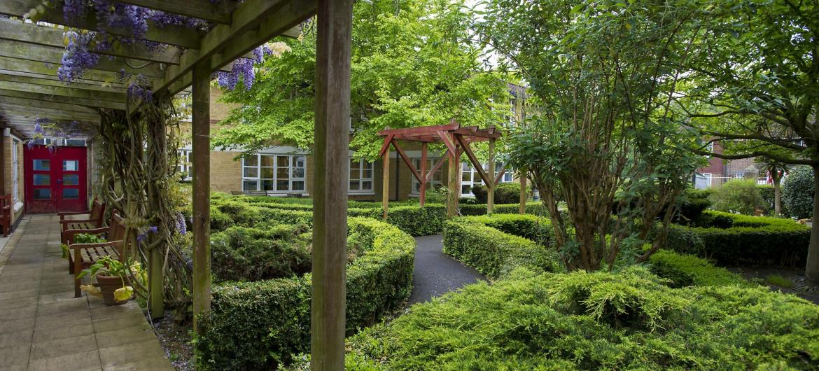 The landscaped gardens at Aashna House Residential Care Home