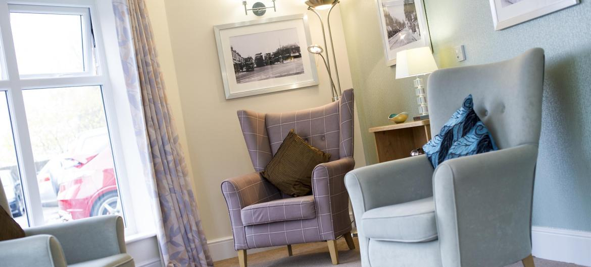 The pastel lounge at Bartley Green Lodge Residential Care Home.