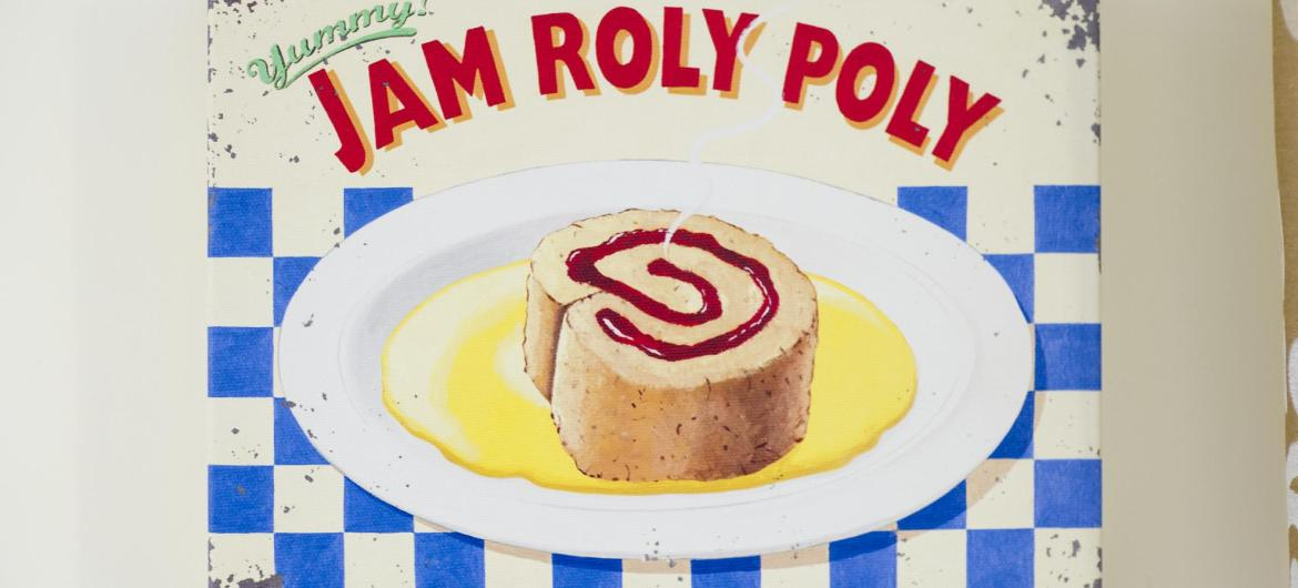 A old jam roly poly sign.