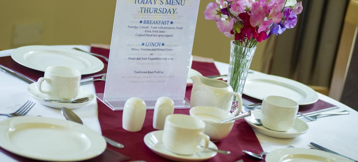 A menu on the dining room table at Broadmeadow Court Residential Care Home.