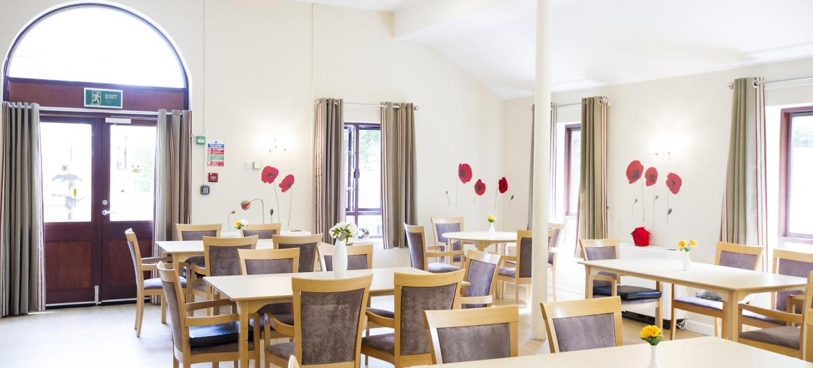 The light and airy dining room at Broadmeadow Court Residential Care Home.