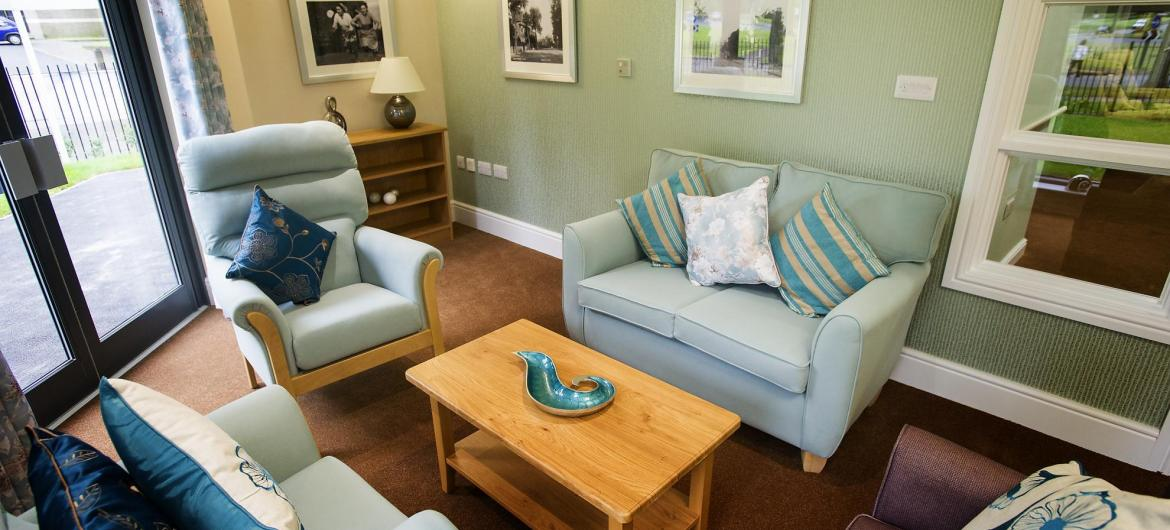 Cosy lounge at Castlecroft Residential Care Home.