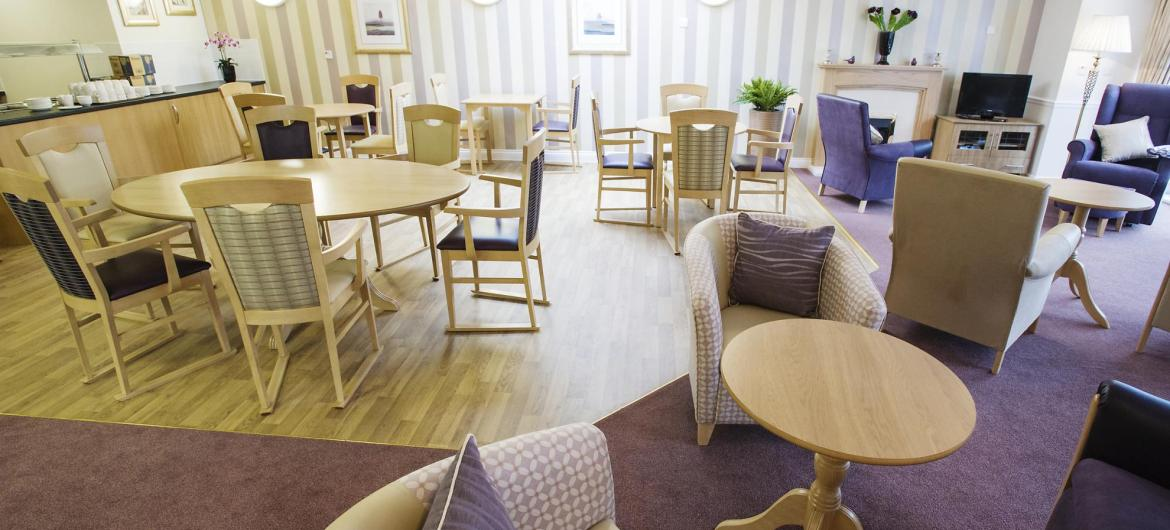 The open lounge and dining room at Haven Residential Care Home.