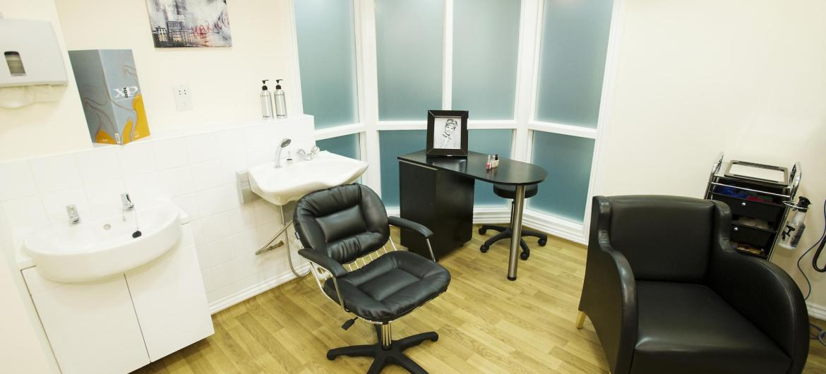 The contemporary hair dressing salon at Haven Residential Care Home.