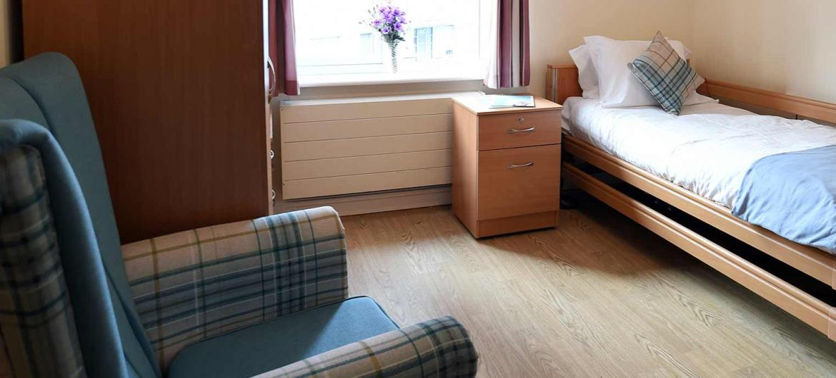 A typical residents bedroom at Arundel Park care home..