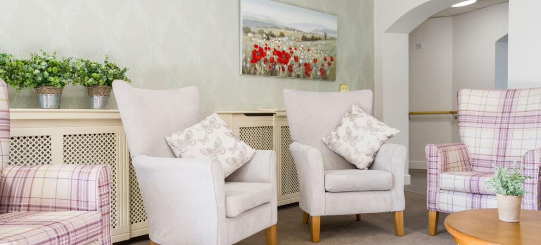 Communal lounge at Basingfield Court