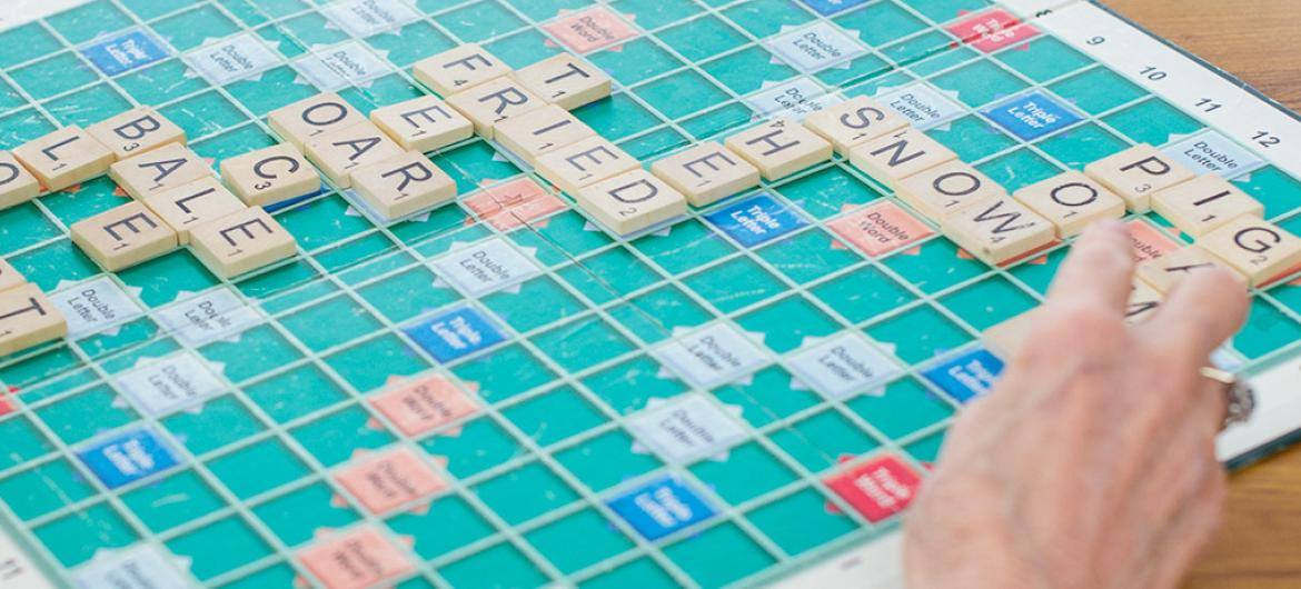 Scrabble being played by residents