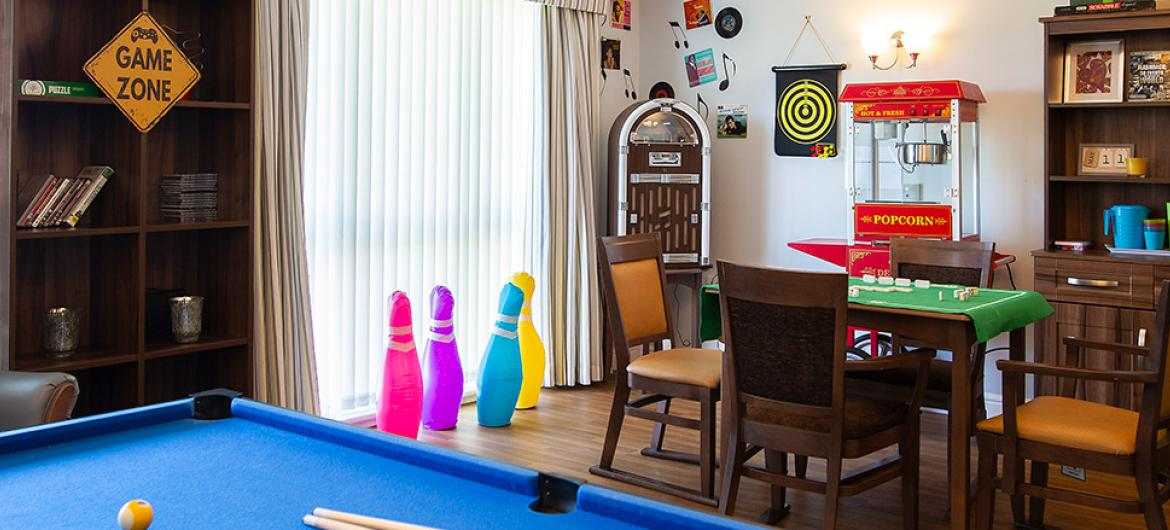 The Games Room at Birchwood Court Residential Care Home in Durham