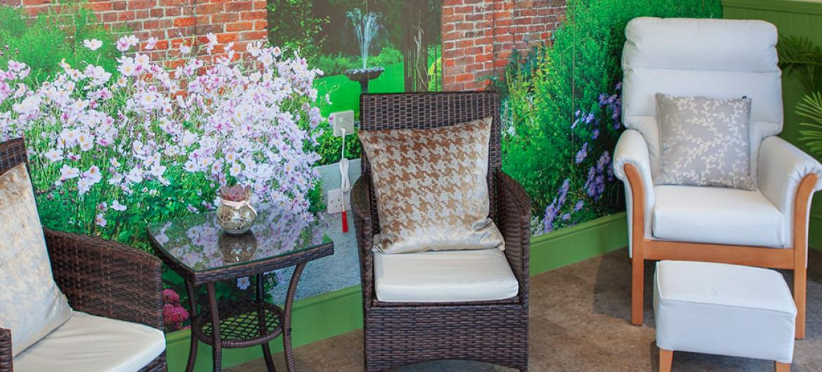Seating area at Briggs Lodge Residential and Nursing Home in Wiltshire