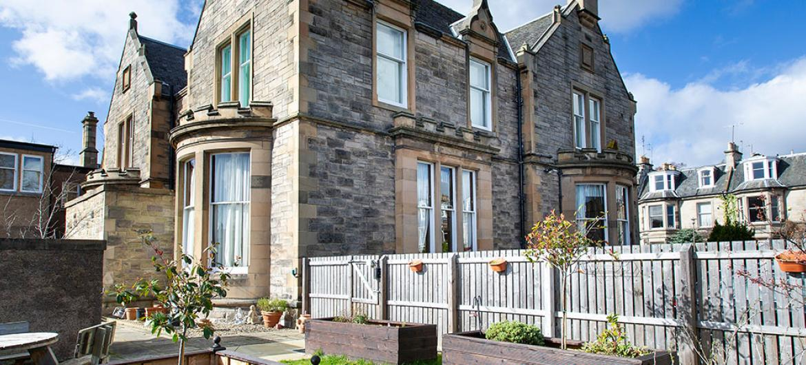 Exterior and rear gardens at Camilla House in Edinburgh
