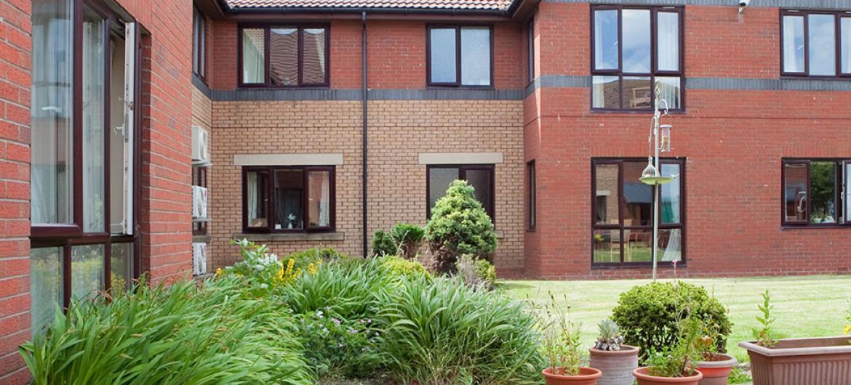 Courtyard gardens at Cedar Court Residential and Nursing Home in Durham