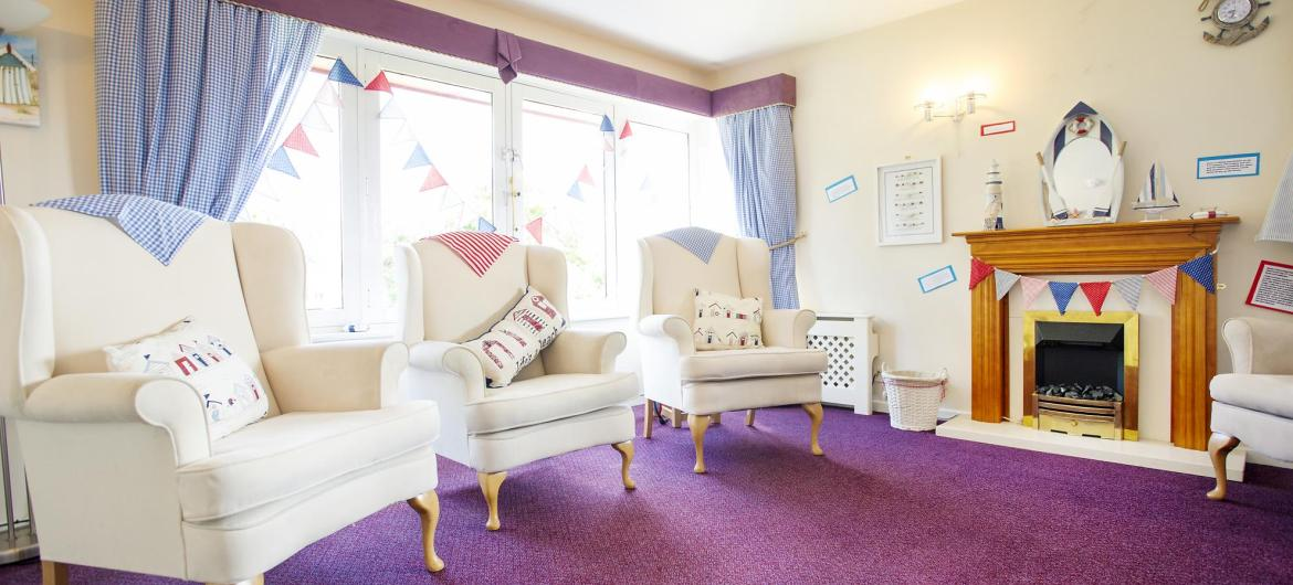 The lounge at Don Thomson Care Home decorated with bunting.