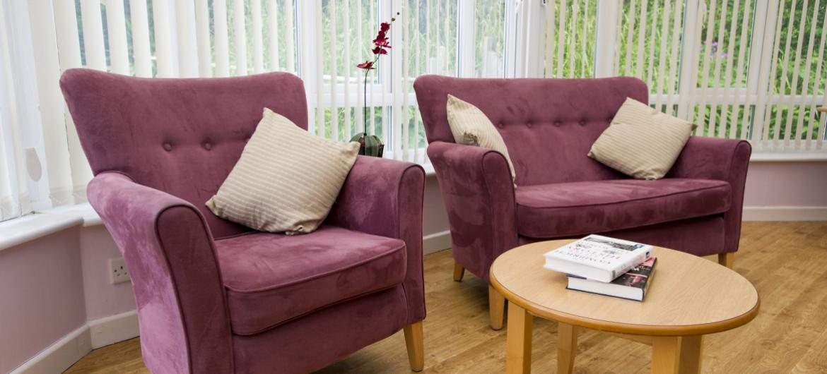 The bright and airy lounge at the Furzehatt Care home.