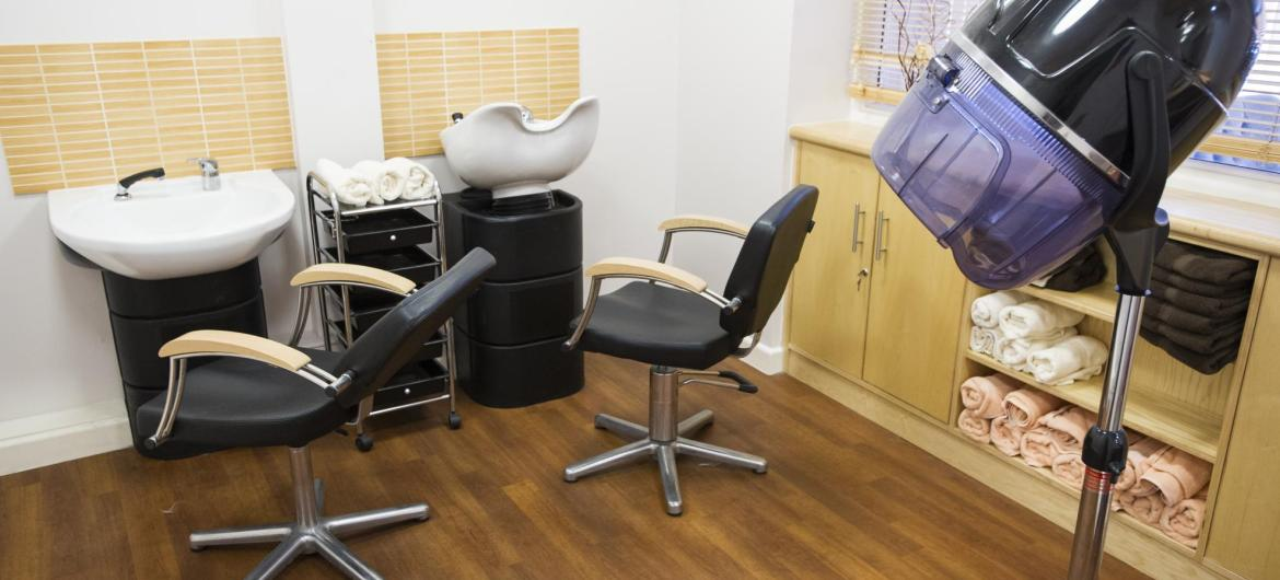 The contemporary, and stylish hairdressing salon at Greenslades Care Home.