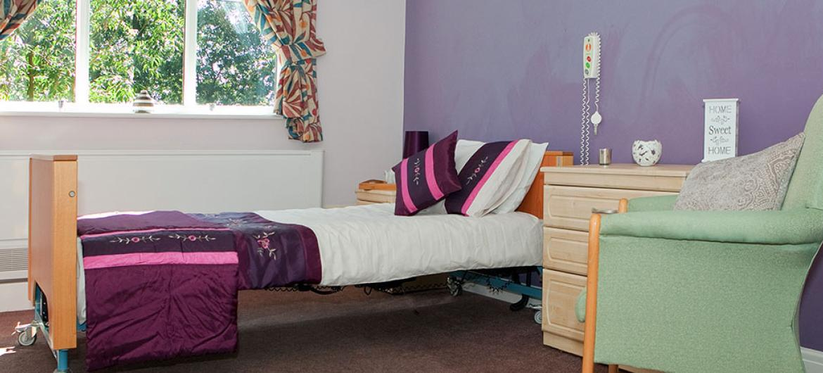 A modern bedroom at Lake and Orchard Residential and Nursing Home in York
