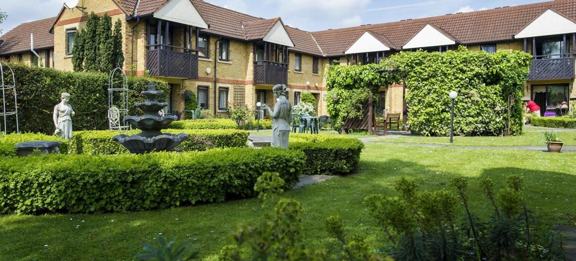 A view of Shaftesbury Court Residential Care Home from the mature gardens.