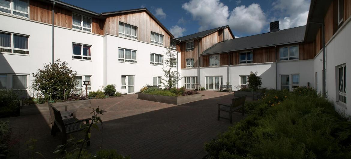 The courtyard at Meadows House Residential and Nursing Home.