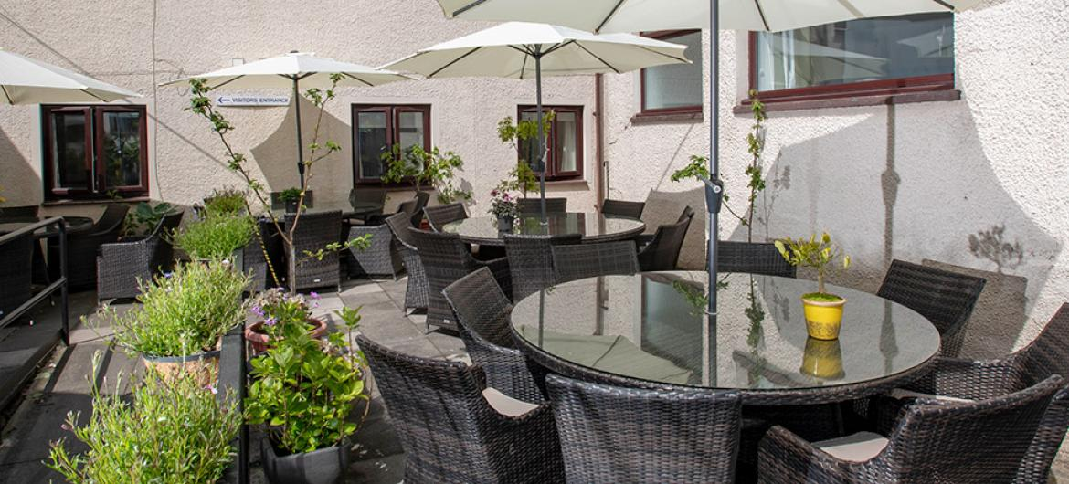 Garden seating area at Millport Care Centre in Ayrshire