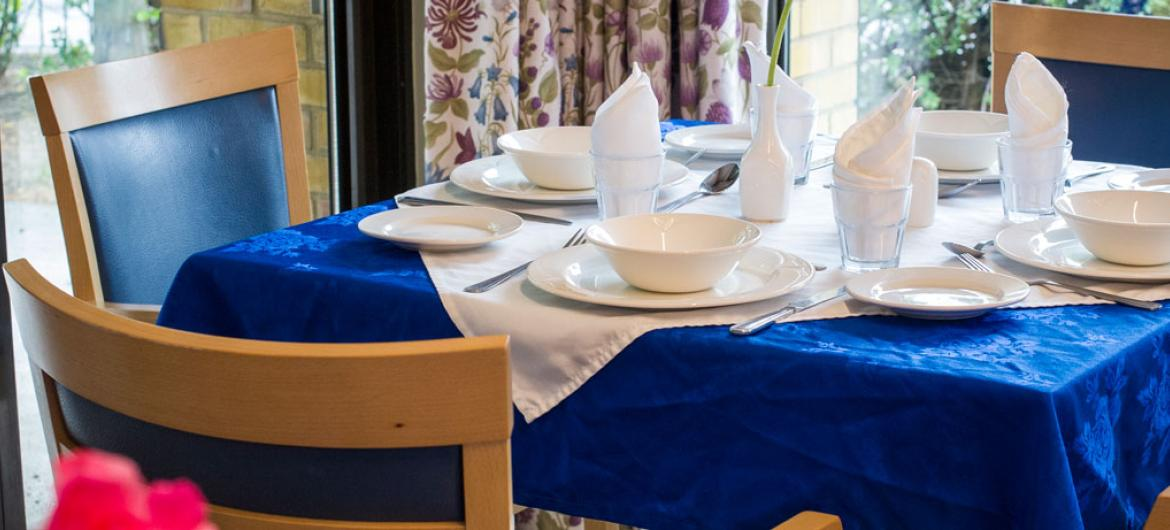 A typical dining table layout at Shaftesbury Court Residential Care Home.