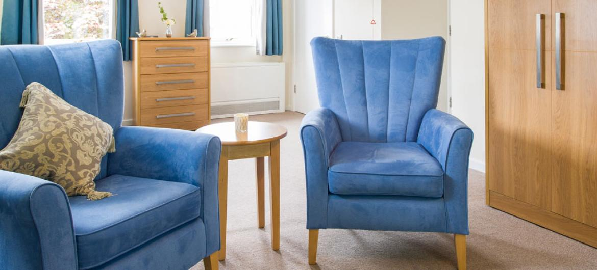 An example of a living room at Shaftesbury Court Residential Care Home.