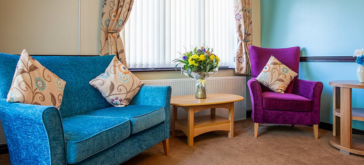 Living area at Nunthorpe Oaks Residential Care Home in Middlesbrough