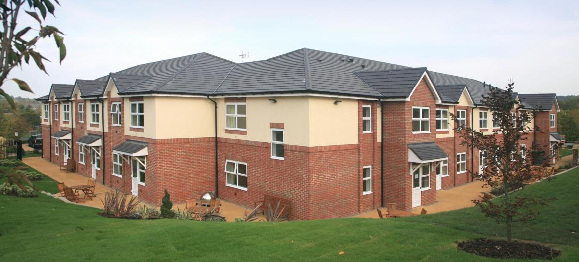 The view of Park View Residential Care Home from across the manicured lawns.