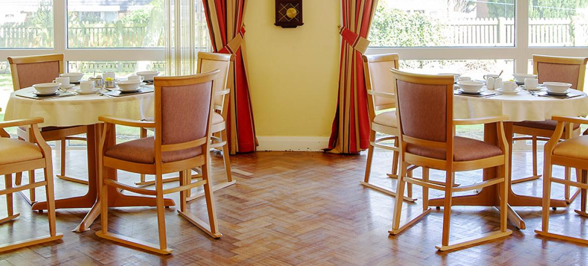 Dining area at Pavillion Residential and Nursing Home in Durham