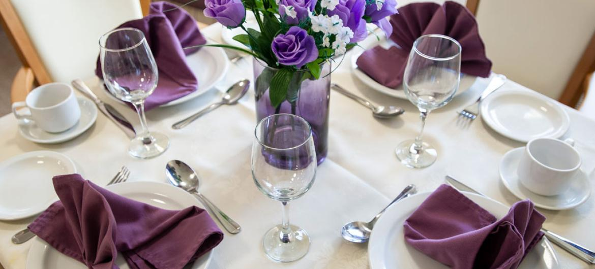 Queens care home dining table layout