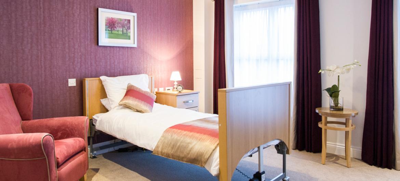 Upton Dene care home bedroom
