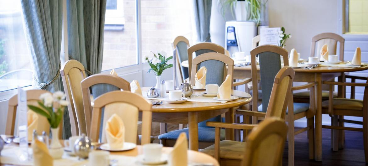 The dining tables in the Westmead Residential Care Home set ready for dinner.