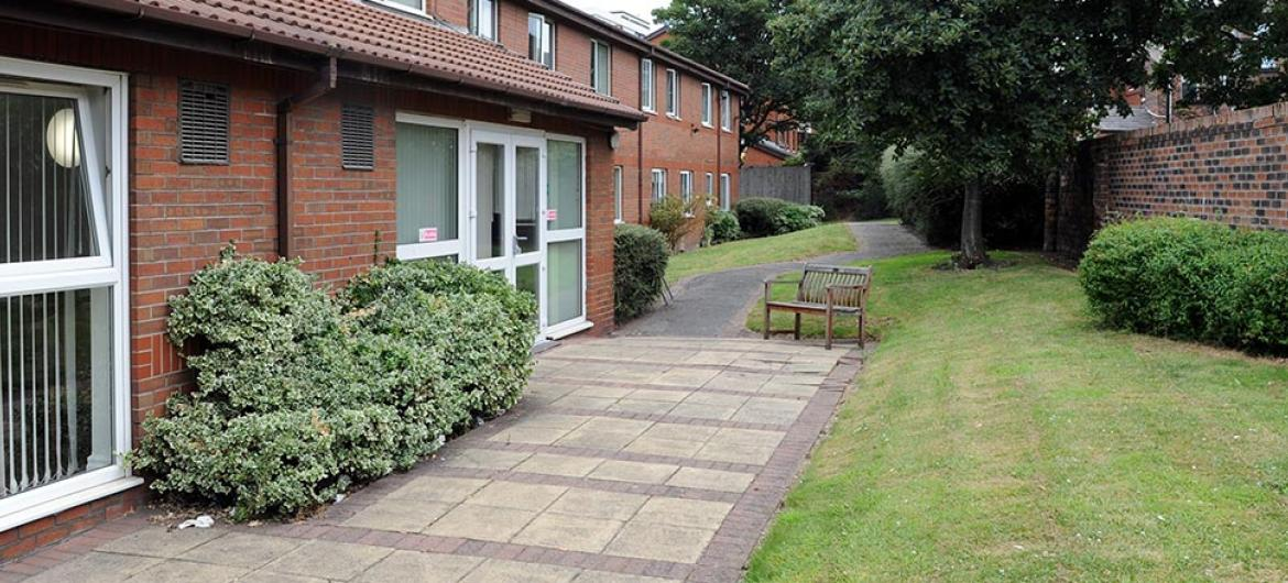 Side garden at Willow Gardens Residential and Nursing Home in Merseyside