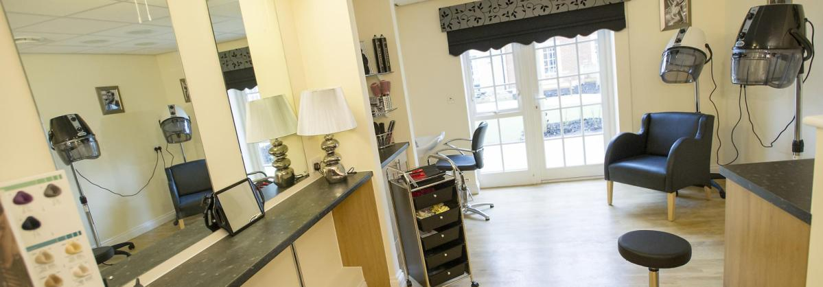 The large, open plan, light and airy hair dressing salon at Iffley Residential and Nursing Home.