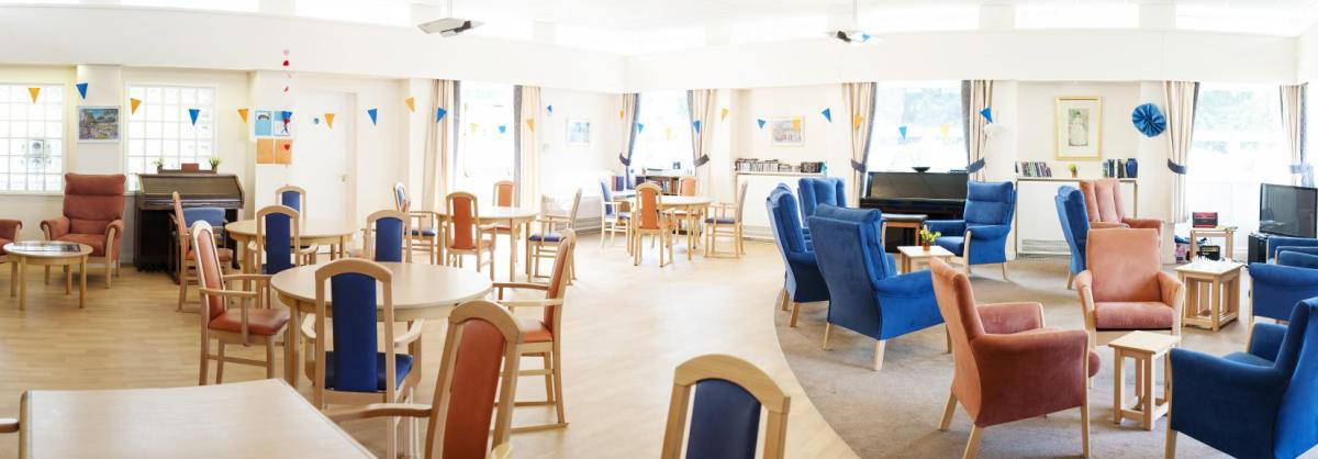 The large open plan day care centre at Orchard House Residential Care Home