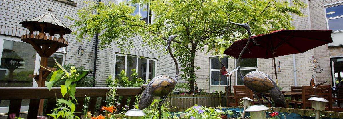 Gardens with decorative statues, bird tables and trees.