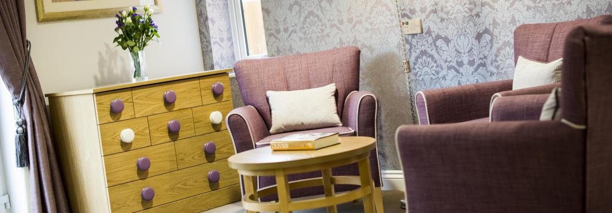 A cosy corner in the lounge at Meadow View Residential Care Home.