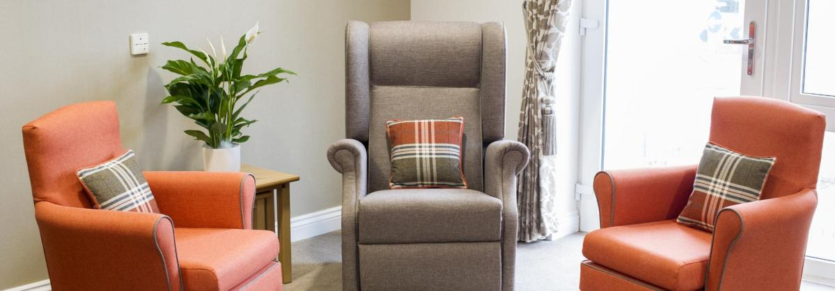 A comfortable lounge at Meadow View Residential Care Home.