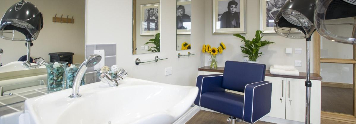 The modern and stylish hairdressing salon at Meadow View Residential Care Home.