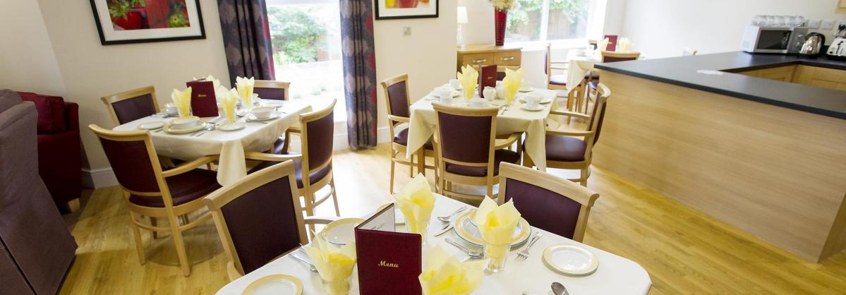 The dining room at Castlecroft Residential Care Home